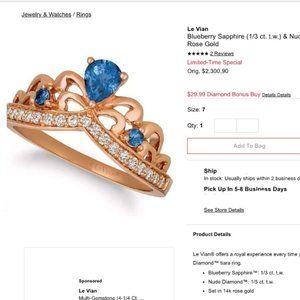 Le Vian Sapphire Tiara Ring 1/6 ct tw Diamonds 14K